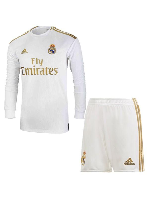 Реал Мадрид (Real Madrid) домашняя футбольная форма детская с длинным рукавом 2019-2020